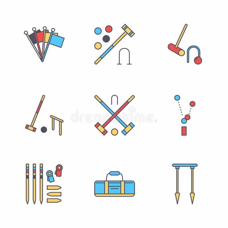 Pictogrammen van de het spel de vectorlijn van de croquetsport Bal, houten hamers, hoepels, pinnen, hoekvlaggen Tuin, geplaatste  royalty-vrije illustratie