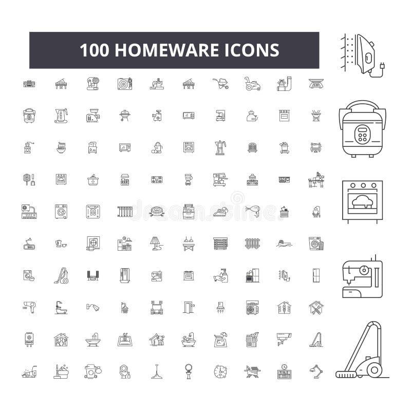 Pictogrammen van de Homeware de editable lijn, 100 vectorreeks, inzameling Illustraties van het Homeware de zwarte overzicht, tek royalty-vrije illustratie