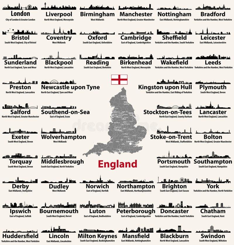 Pictogrammen van de horizonnensilhouetten van de grote steden van Engeland de abstracte Kaart van Engeland met al grote steden en vector illustratie