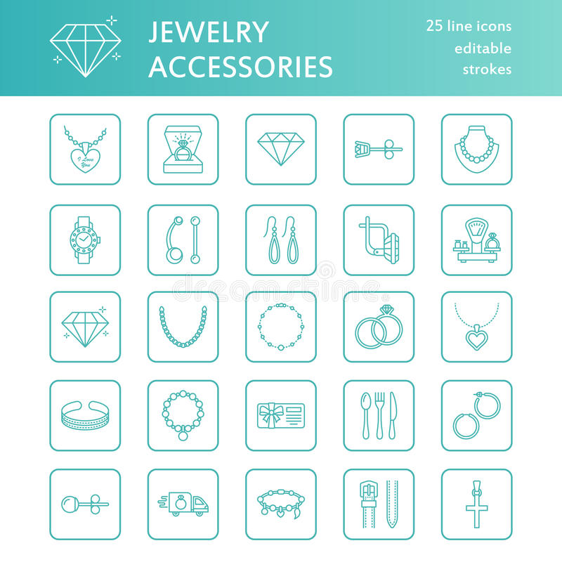 Pictogrammen van de juwelen de vlakke lijn, de tekens van de juwelenopslag Juwelentoebehoren - gouden verlovingsringen, gemoorrin royalty-vrije illustratie