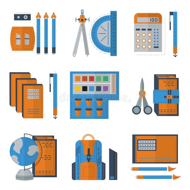 Pictogrammen van de kantoorbehoeften de vlakke kleur stock illustratie