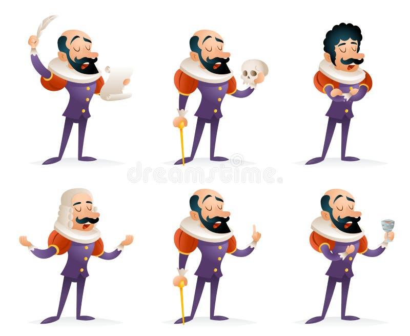 Pictogrammen van de Karakters de Middeleeuwse Verschillende Acties van acteurstheater stage man Geplaatst het Malplaatje van het  vector illustratie