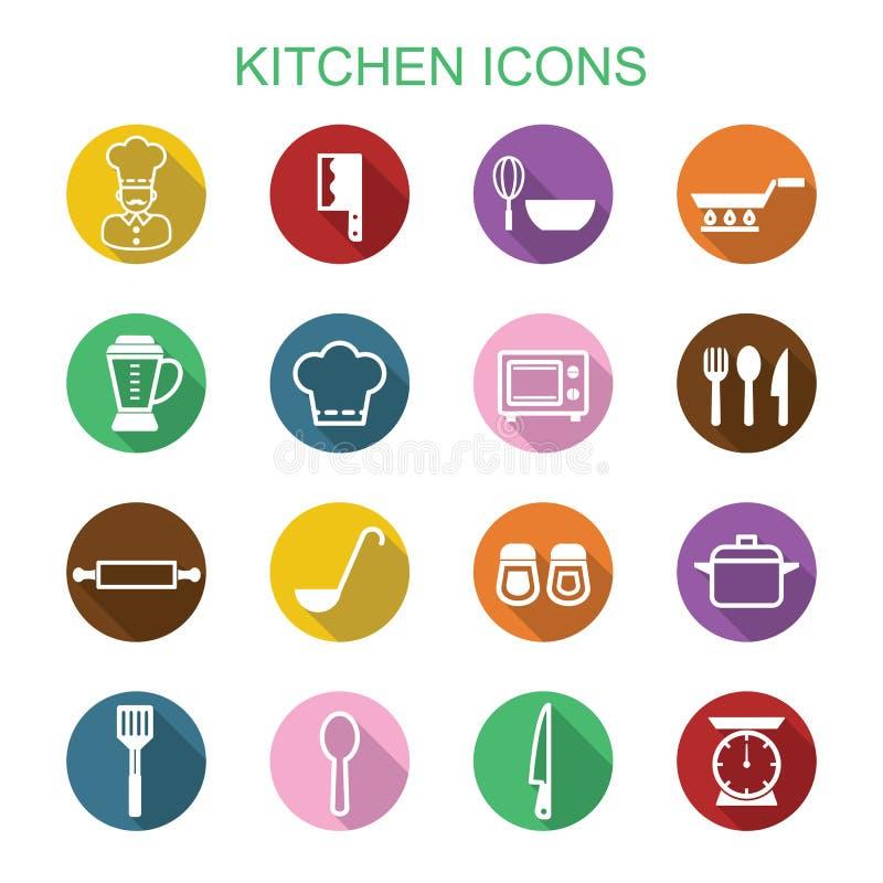 Pictogrammen van de keuken de lange schaduw vector illustratie
