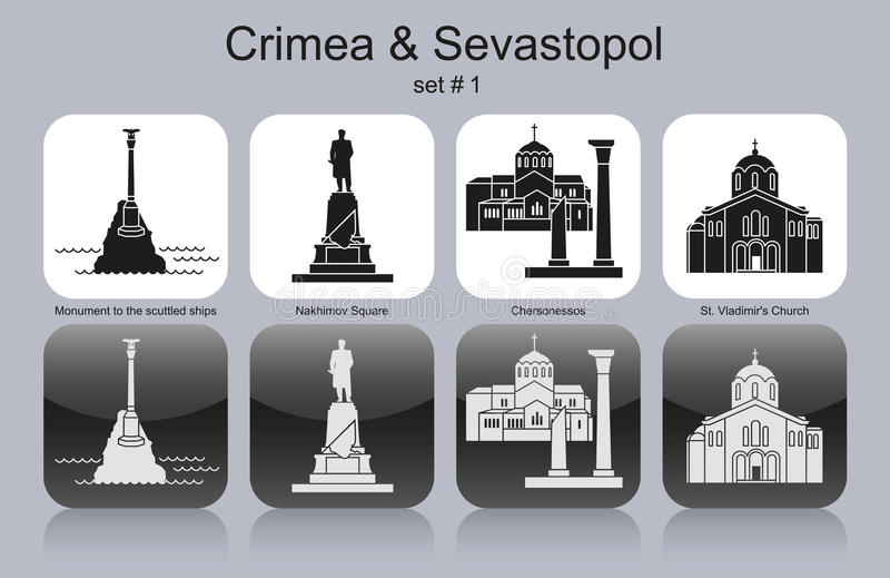 Pictogrammen van de Krim & Sebastopol stock illustratie