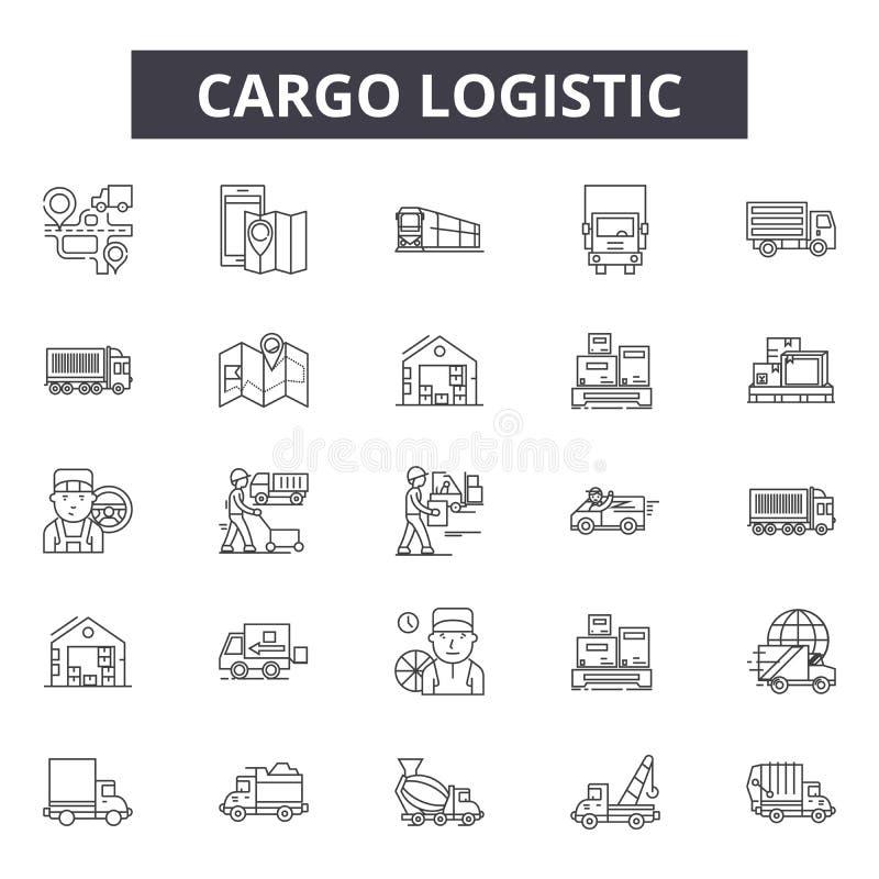 Pictogrammen van de ladings de logistische lijn, tekens, vectorreeks, het concept van de overzichtsillustratie royalty-vrije illustratie