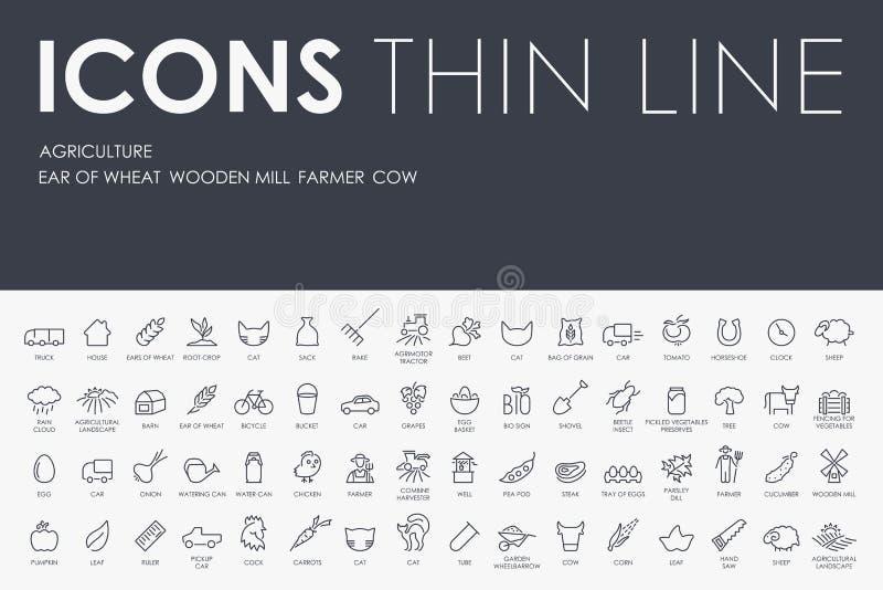 Pictogrammen van de landbouw de Dunne Lijn vector illustratie