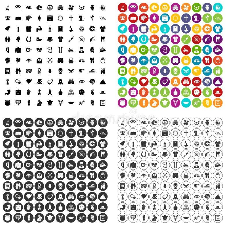 100 pictogrammen van de de lentevakantie geplaatst vectorvariant stock illustratie