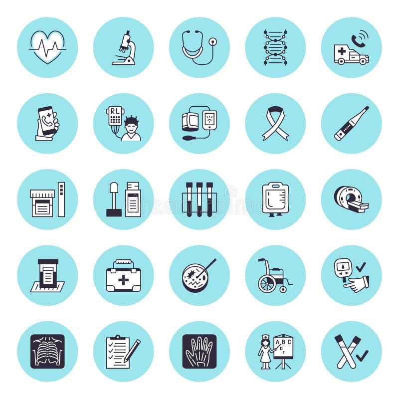 Pictogrammen van de medische apparatuur de vector vlakke lijn Kenmerkende gezondheid - stethoscoop, thermometer, microscoop, diab royalty-vrije illustratie