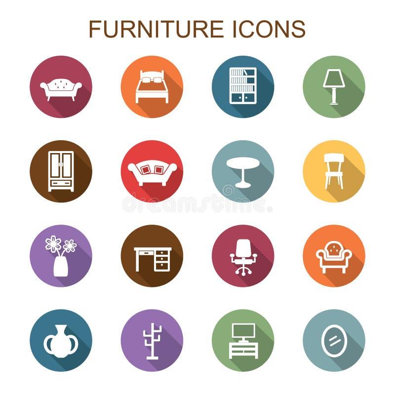 Pictogrammen van de meubilair de lange schaduw royalty-vrije illustratie