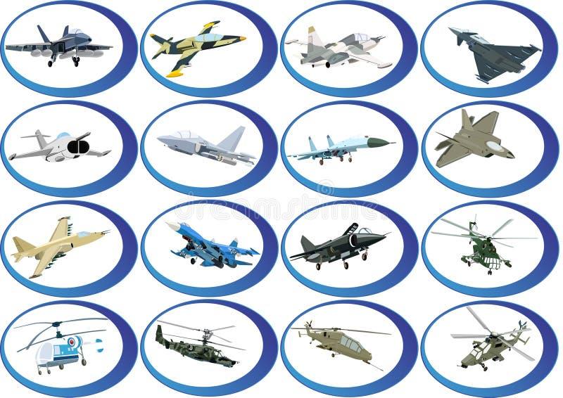 Pictogrammen van de militaire luchtvaart stock illustratie