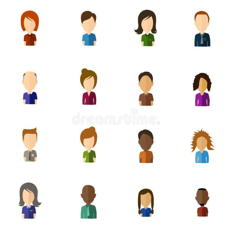 Pictogrammen van de Minimalistic de vlakke gebruiker met groot hoofd - reeks 1 stock illustratie