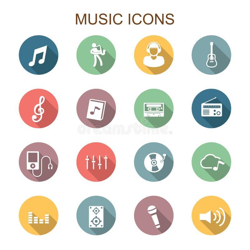 Pictogrammen van de muziek de lange schaduw vector illustratie