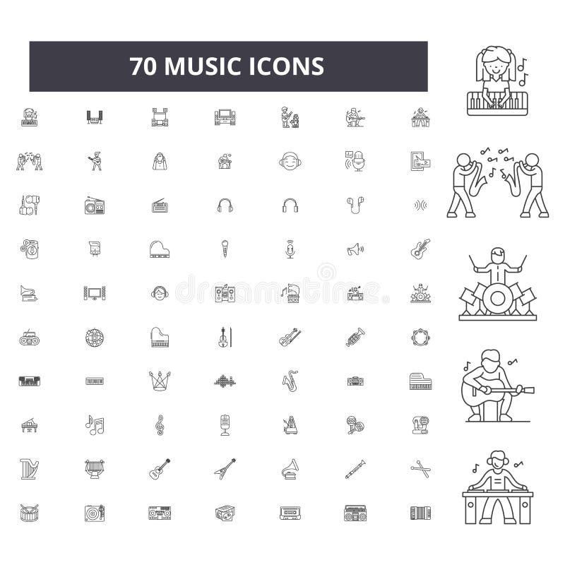 Pictogrammen van de muziek de editable lijn, 100 vectorreeks, inzameling Illustraties van het muziek de zwarte overzicht, tekens, royalty-vrije illustratie