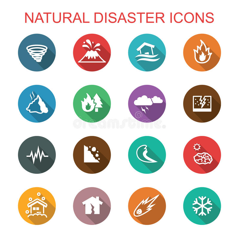 Pictogrammen van de natuurrampen de lange schaduw royalty-vrije illustratie