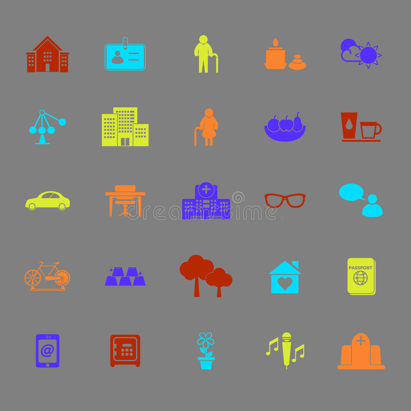 Pictogrammen van de pensionerings de communautaire kleur stock illustratie