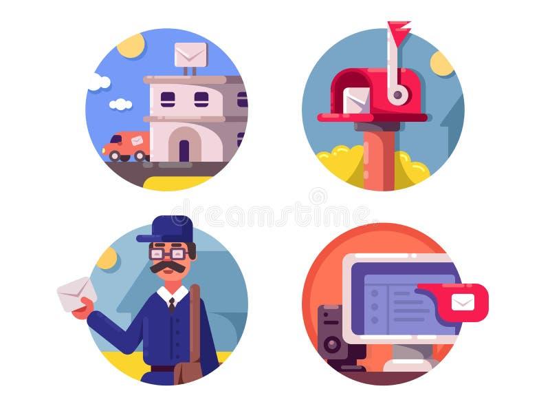 Pictogrammen van de post de postdienst vector illustratie