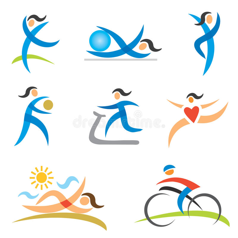 Pictogrammen van de sporten de gezonde vrouw stock illustratie