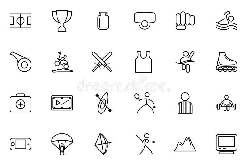 Pictogrammen 3 van de sporten Vectorlijn royalty-vrije illustratie