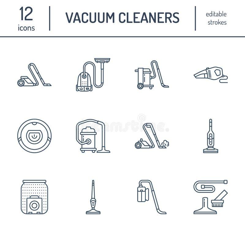 Pictogrammen van de stofzuigers de vlakke lijn Verschillende industriële vacuatypes -, robotachtig huishouden, handbediend, bus,  stock illustratie