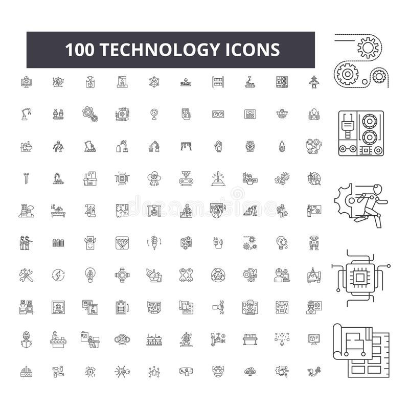 Pictogrammen van de technologie de editable lijn, 100 vectorreeks, inzameling Illustraties van het technologie de zwarte overzich royalty-vrije illustratie