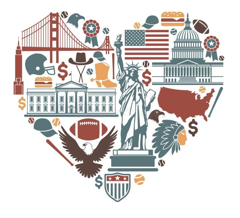 Pictogrammen van de V.S. in de vorm van hart royalty-vrije illustratie
