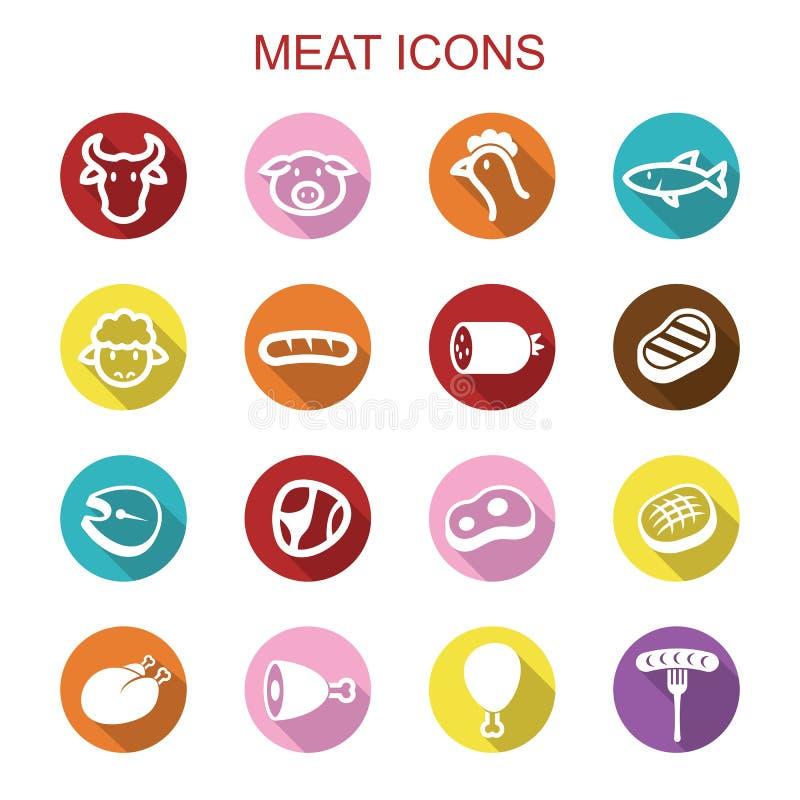 Pictogrammen van de vlees de lange schaduw vector illustratie