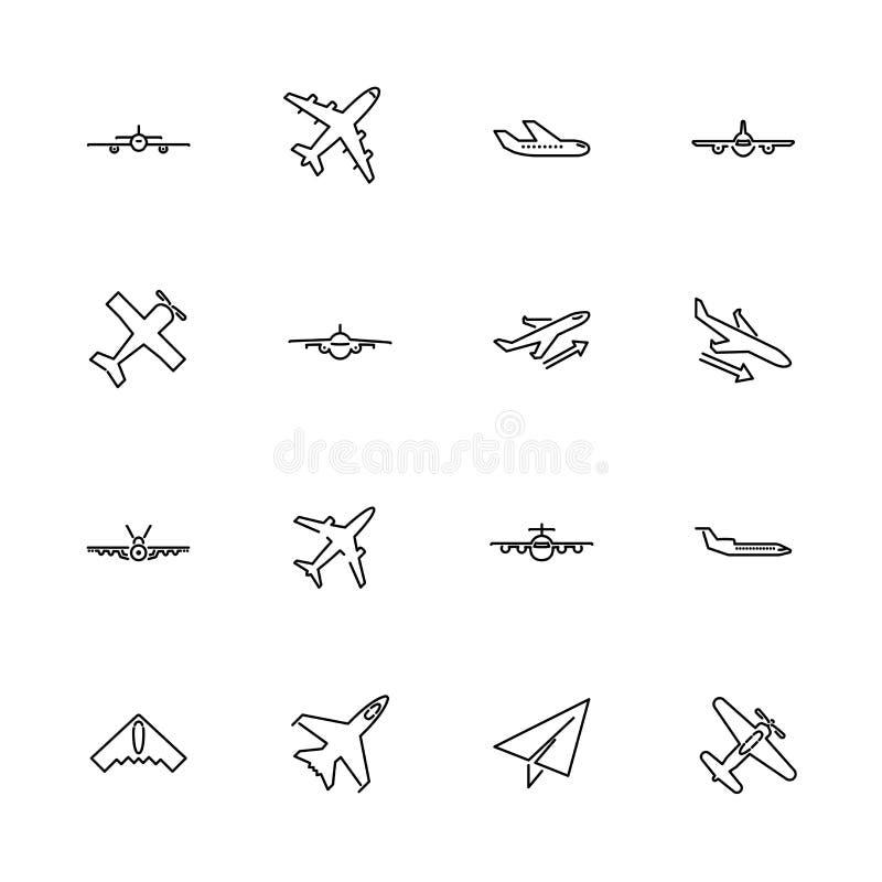Pictogrammen van de vliegtuigen de Vlakke Vectorlijn vector illustratie
