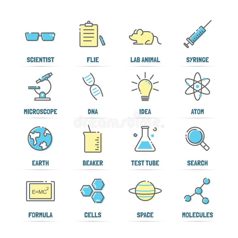 Pictogrammen van de wetenschaps de vectorlijn met vlakke kleuren vector illustratie