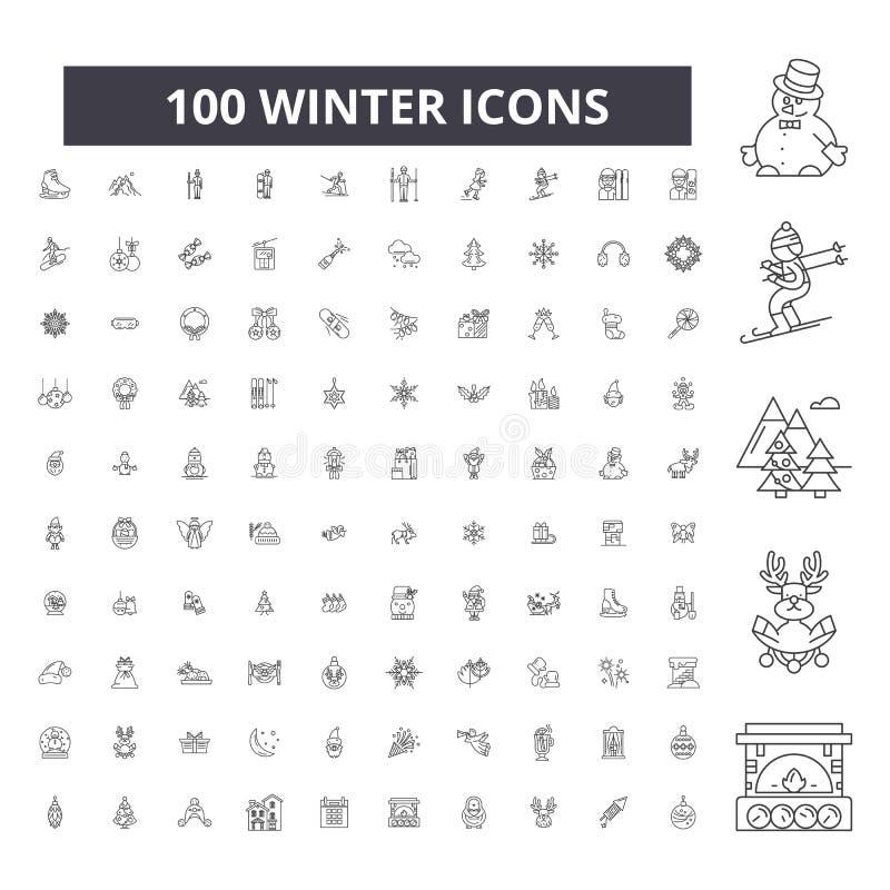 Pictogrammen van de de winter de editable lijn, 100 vectorreeks, inzameling Illustraties van het de winter de zwarte overzicht, t vector illustratie