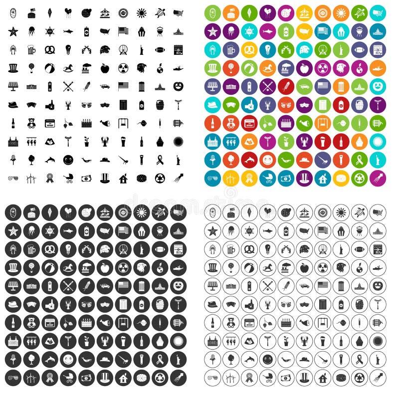 100 pictogrammen van de de zomervakantie geplaatst vectorvariant stock illustratie