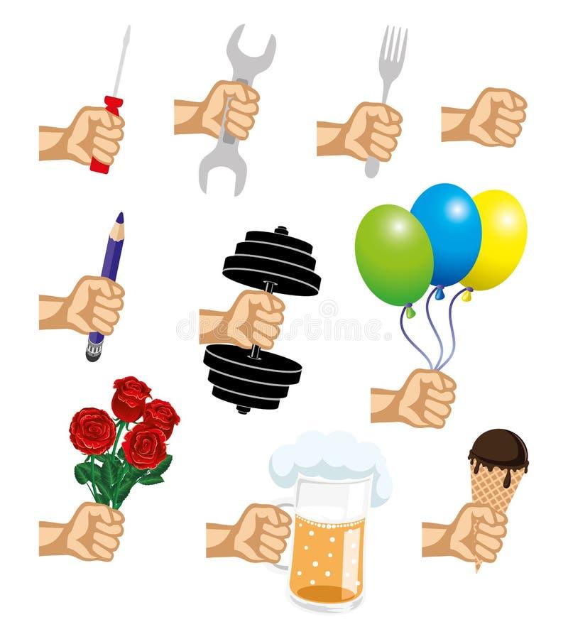 Pictogrammen van een hand met verschillende voorwerpen vector illustratie