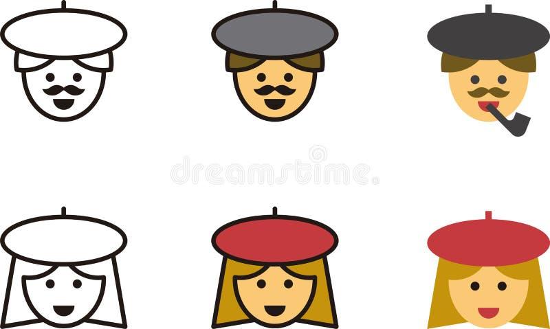 Pictogrammen van Franse mannen en vrouwen stock illustratie