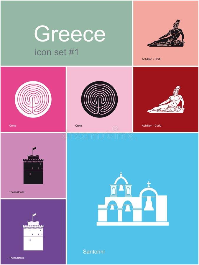 Pictogrammen van Griekenland royalty-vrije illustratie
