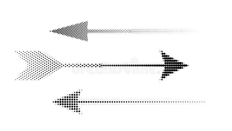 Pictogrammen van halftone pijlen Reeks abstracte vectordiepijlen van punten op witte achtergrond wordt geïsoleerd vector illustratie