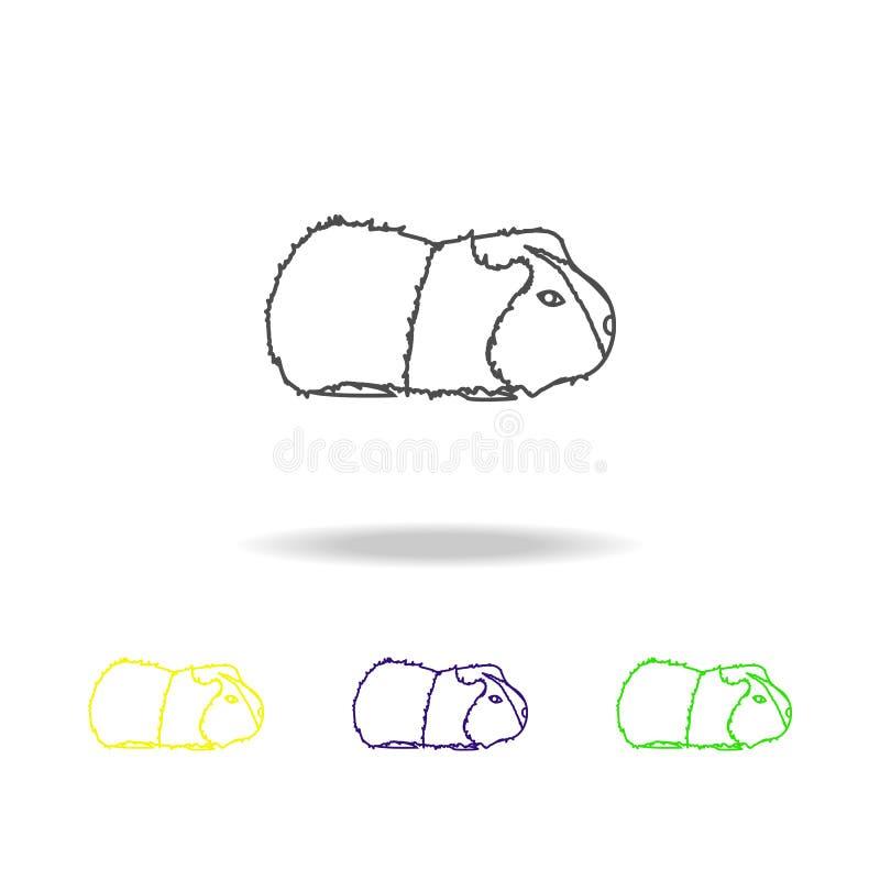 pictogrammen van het cavy, knaagdier multicolored overzicht Element van knaagdierenillustratie Tekens en symbolenoverzichtspictog stock illustratie