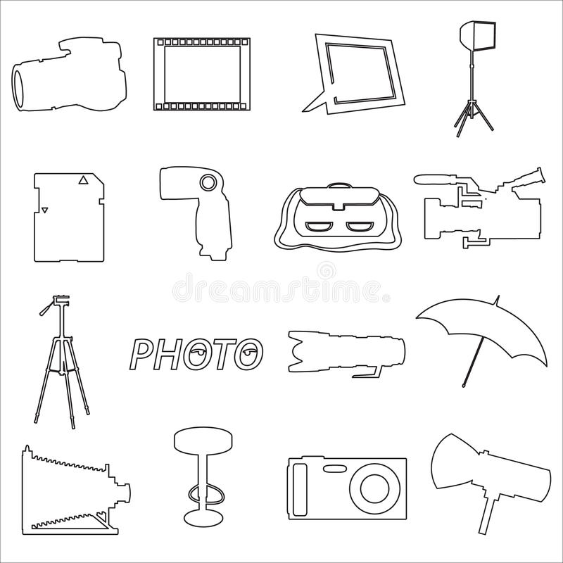 Pictogrammen van het fotografische en camera de eenvoudige overzicht royalty-vrije illustratie