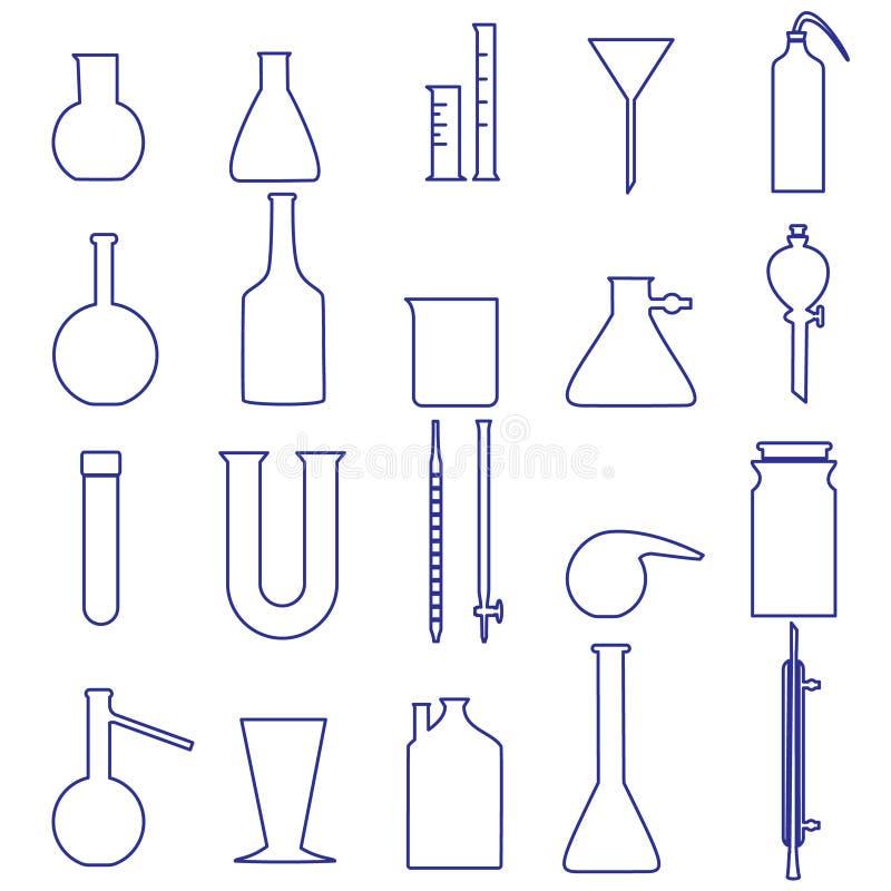Pictogrammen van het het glaswerk de eenvoudige overzicht van het chemielaboratorium royalty-vrije illustratie