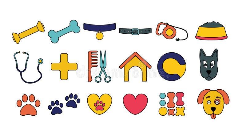 pictogrammen van het hond de vastgestelde beeldverhaal puppyvoorwerp Huisdierensymbolen en teken royalty-vrije illustratie