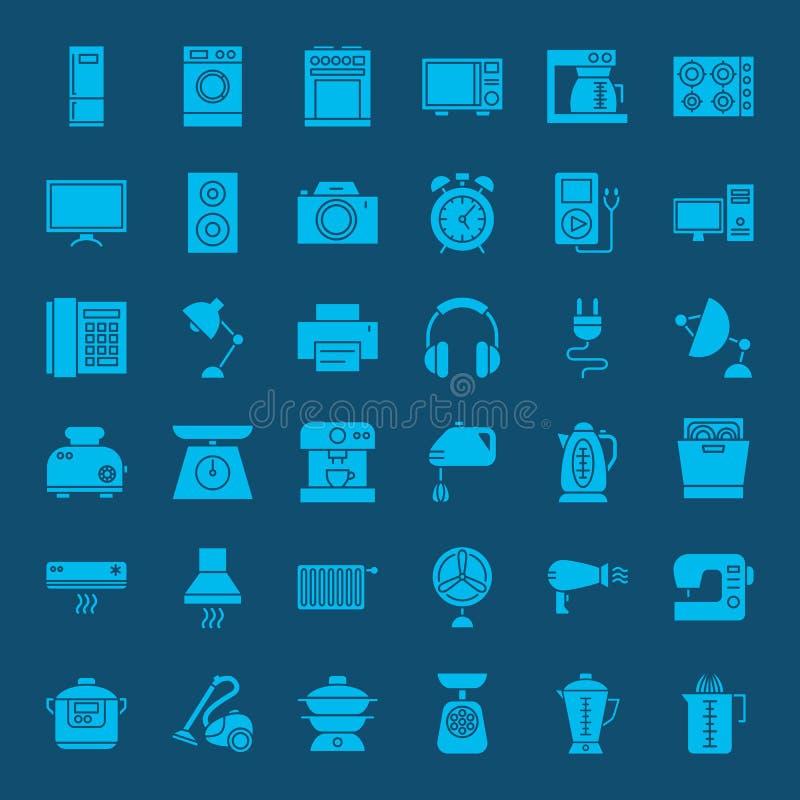 Pictogrammen van het huishouden de Stevige Web stock illustratie