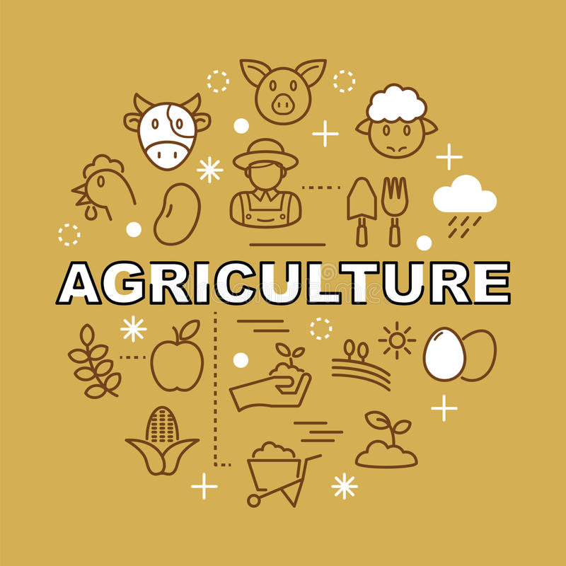 Pictogrammen van het landbouw de minimale overzicht stock illustratie