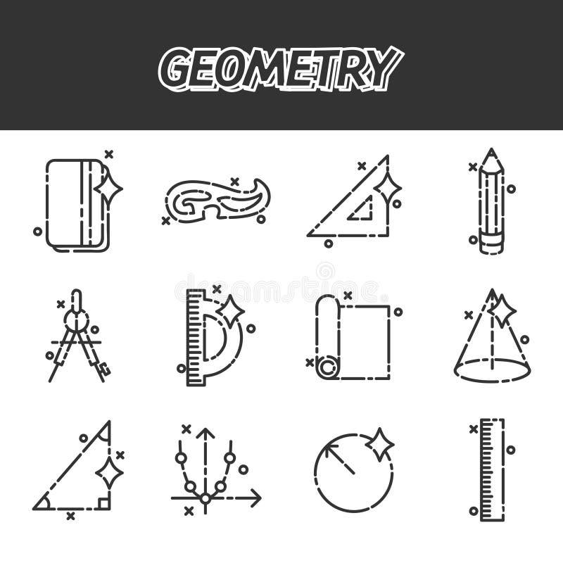 Pictogrammen van het meetkunde de vlakke concept royalty-vrije illustratie