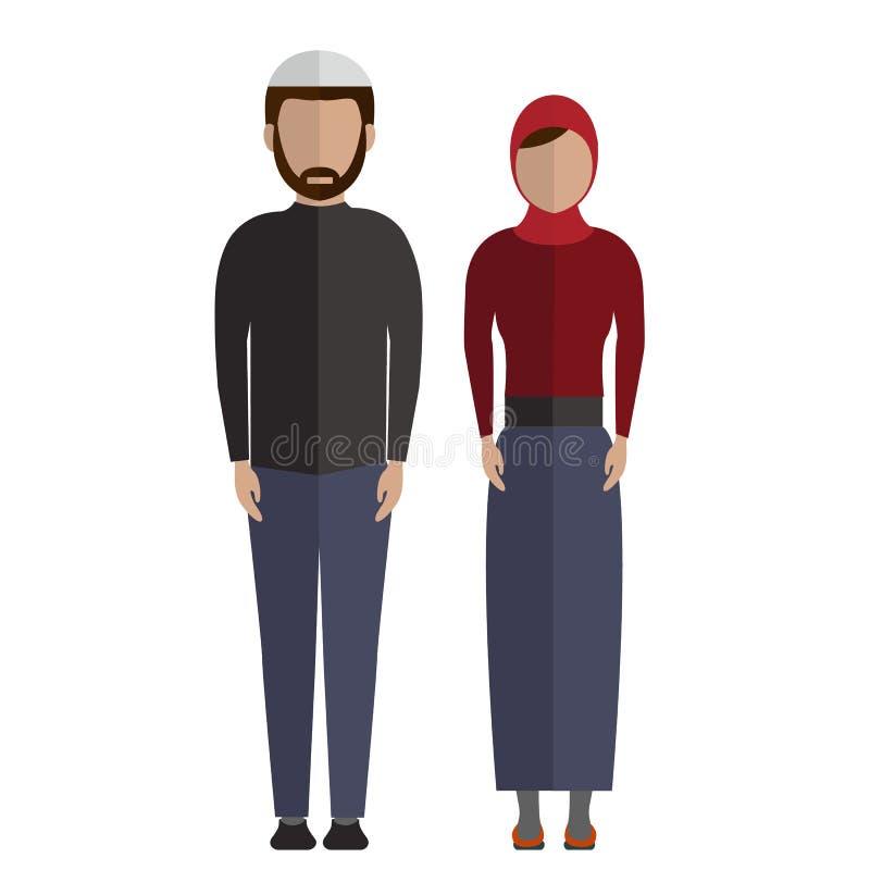 Pictogrammen van het Middenoosten, de Moslim van paarmensen vector illustratie