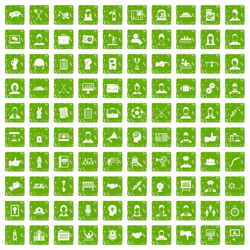100 pictogrammen van het teamwerk geplaatst grunge groen royalty-vrije illustratie