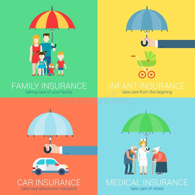 4-in-1 pictogrammen van het verzekeringsbedrijf de moderne vlakke vastgestelde concept stock illustratie