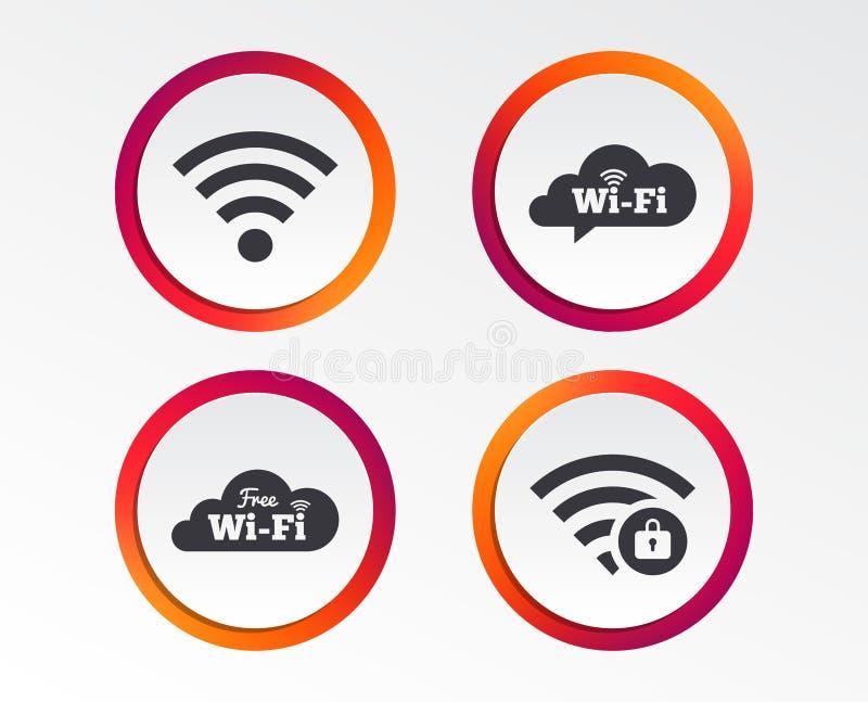 Pictogrammen van het Wifi de Draadloze Netwerk WiFi-gesloten streek stock illustratie