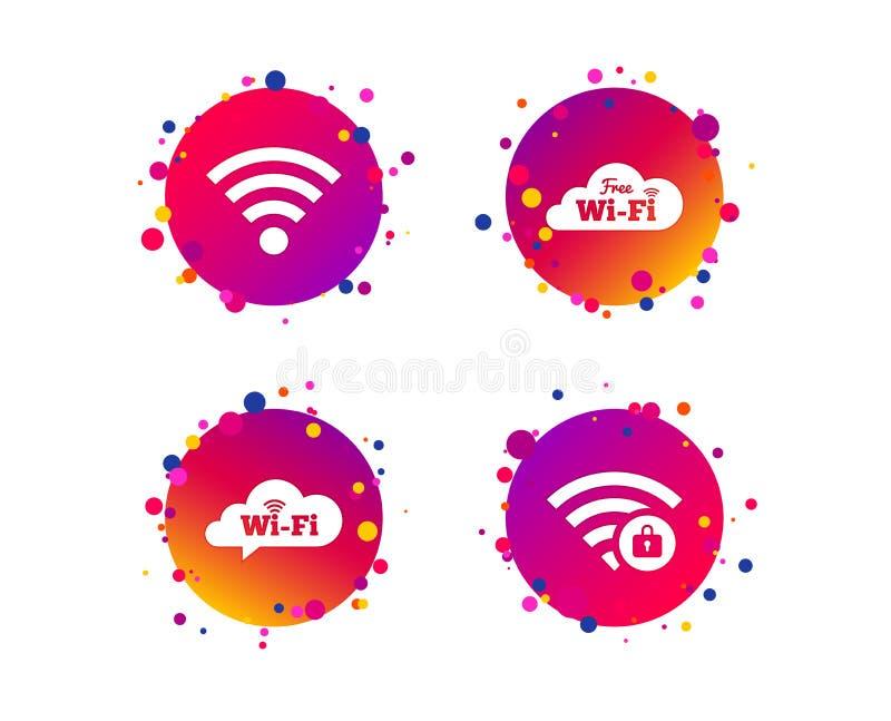 Pictogrammen van het Wifi de Draadloze Netwerk WiFi-gesloten streek Vector vector illustratie