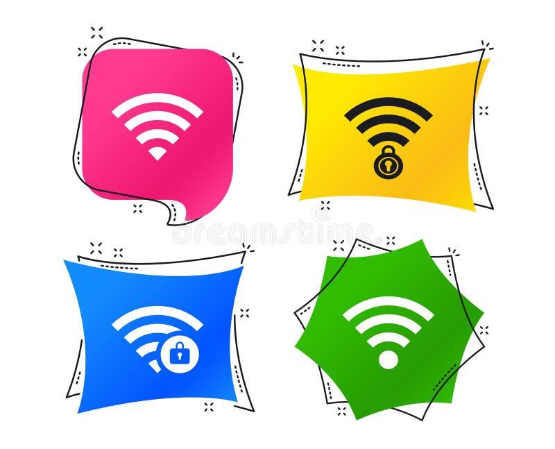 Pictogrammen van het Wifi de Draadloze Netwerk WiFi-gesloten streek Vector royalty-vrije illustratie