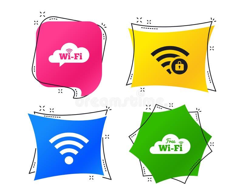 Pictogrammen van het Wifi de Draadloze Netwerk WiFi-gesloten streek Vector stock illustratie