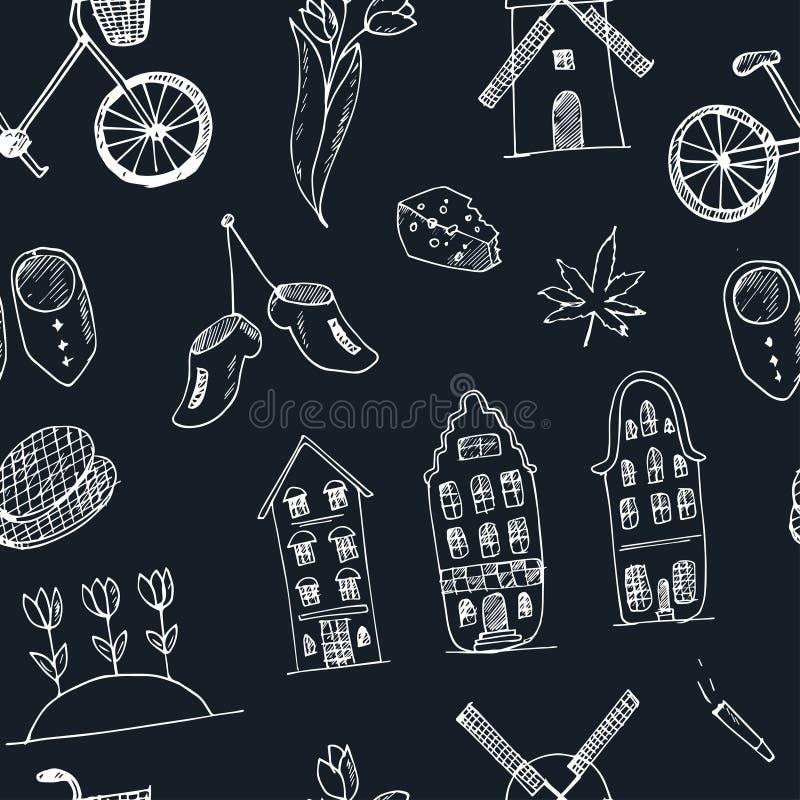 Pictogrammen van Holland van het krabbel de hand getrokken naadloze patroon De cultuurelementen van Nederland voor ontwerp Vector vector illustratie