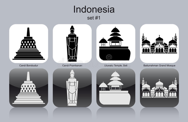 Pictogrammen van Indonesië vector illustratie